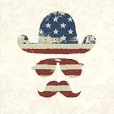 Grunge american flag themed retro fun elements. Vector, EPS10