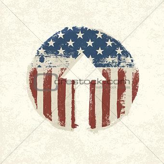 Grunge american flag themed up arrow symbol. Vector, EPS10