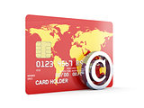 Credit card with copyright sign