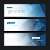 Collection of three horizontal banner designs, abstract blue tri