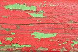 Wooden boards painted in red and green