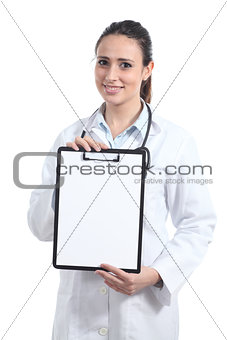 Beautiful female doctor showing a blank report