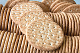 Round Whole Wheat Crackers Closeup Macro