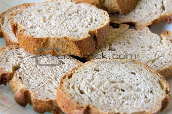 Sliced Sour Dough French Bread Closeup