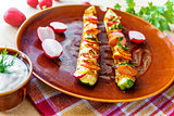 stuffed grilled zucchini radishes sausage vegetables baked