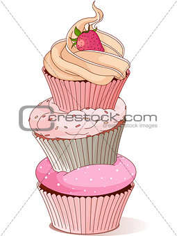 Pyramid of cupcakes