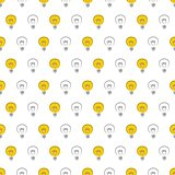 Seamless vector pattern, texture or background with on and off light bulbs on white background. Sign of creative invention.