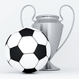 silver cup and soccer ball on a white background