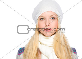 Portrait of girl in winter clothes