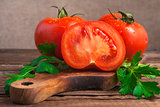 Art vegetable tomato board table wooden parsley fresh