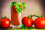 Art vegetable tomato juice board table wooden parsley fresh