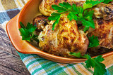 Baked Chicken legs board table wooden meat food roast grilled