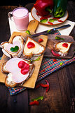 breakfast hearts sandwiches boards food buttermilk knife
