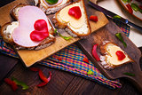 breakfast hearts sandwiches boards food