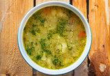 soup vegetable cauliflower dill wooden