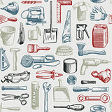 Tools Instruments Seamless Pattern Vector