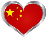 China Flag Heart Shape