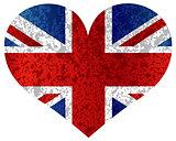 England Union Jack Flag Heart Textured