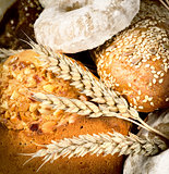 Background of bread and wheat