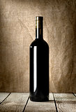 Black bottle of red wine