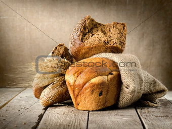 Bread in assortment and wheat