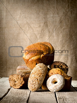 Bread on the old table