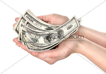 Hand holds hundreds of dollars