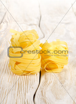 Pasta on a white table