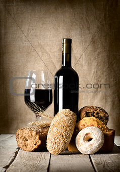 Wine and assortment of bread