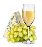 Wineglass cheese and grapes isolated