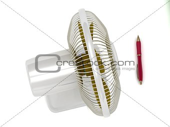 Illustration of table fan and a red pen