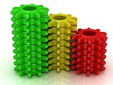 Set of colored cogs: red, yellow, green 