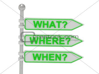 "3 Directional signs ""what"", ""where"", ""when"""