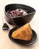 cranberry sauce and fried camembert