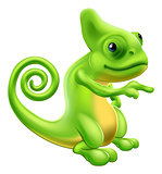 Chameleon mascot pointing