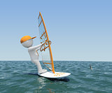 3d man on board with sail floating on the sea