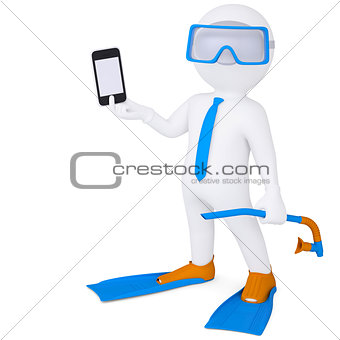 3d man in flippers holding smartphone