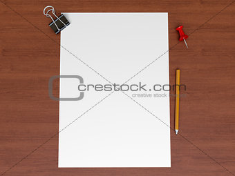 A sheet of paper on a wooden surface