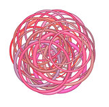 abstract glossy torus shape in pink red on white