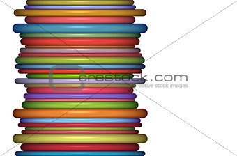 abstract glossy coil backdrop in rainbow color on white