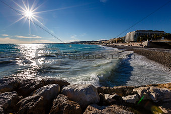 Azure Sea and Beautiful Beach in Nice, French Riviera, France
