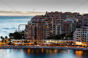 Aerial View on Illuminated Fontvieille and Monaco Harbor, French