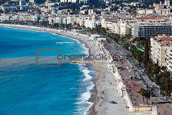 Promenade des Anglais and Beautiful Beach in Nice, French Rivier