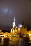 Tallinn Town Hall Casting Shadow on the Dark Sky, Estonia