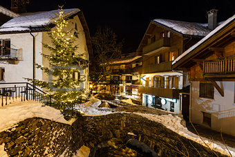 Village of Megeve on Christmas Eve, French Alps, France