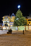 Illuminated Central Square of Megeve on Christmas Eve, French Al
