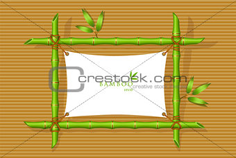 Background with green bamboo frame