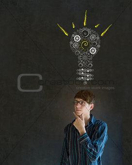 Bright idea gear lightbulb business man