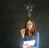 Bright idea gear lightbulb business woman