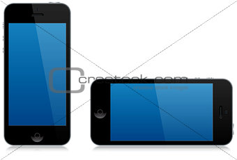 modern smart phone landscape and portrait isolated